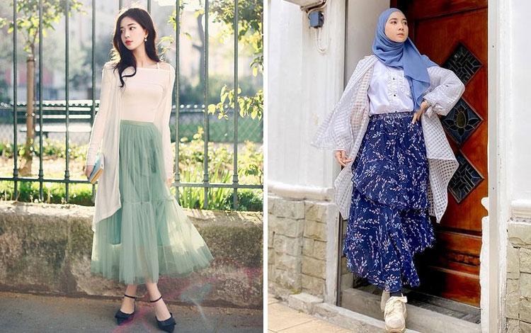 Inspirasi Outfit Dengan Rok Panjang Kekinian