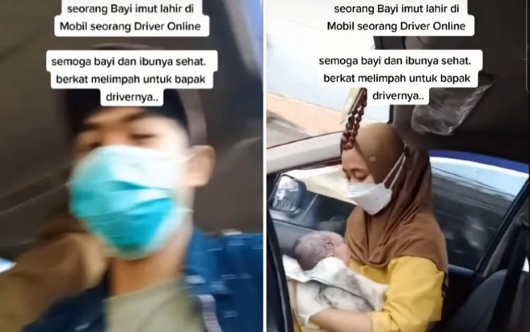 Viral Detik-detik Bayi Lahir di Taksi Online